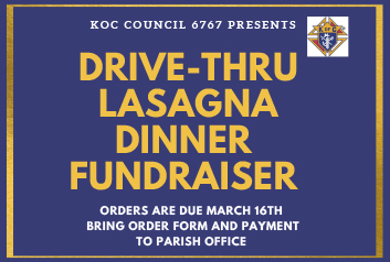 Drive-Thru Lasagna Dinner Fundraiser